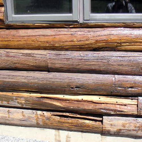 maison en bois rond, teinture bille de bois, log home, chalet